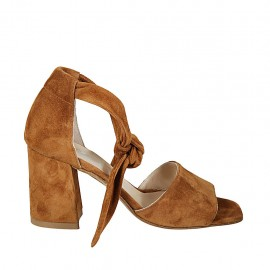 Woman's open shoe with knot strap in tan brown suede block heel 7 - Available sizes:  33, 34, 42, 43