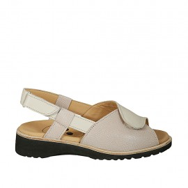 Woman's sandal with velcro straps in beige and taupe printed leather wedge heel 3 - Available sizes:  33, 43