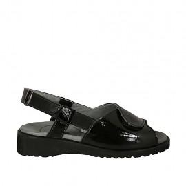 Sandalo da donna con chiusure velcro in pelle e vernice nera zeppa 3 - Misure disponibili: 34, 43
