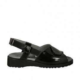 Woman's sandal with velcro straps in black leather and patent leather wedge heel 3 - Available sizes:  34, 43