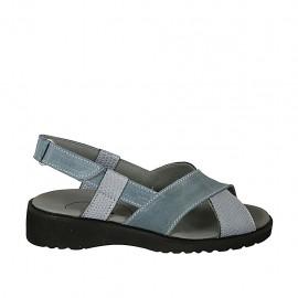 Sandalo da donna con chiusure velcro in pelle stampata avio e camoscio azzurro zeppa 3 - Misure disponibili: 34, 43