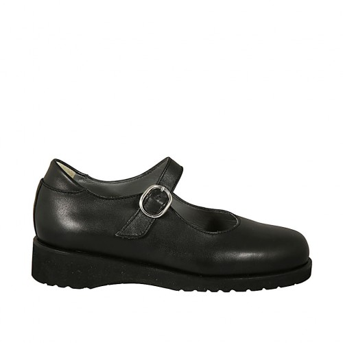 Scarpa da donna in pelle liscia nera con cinturino zeppa 3 - Misure disponibili: 33, 34, 43, 44, 45