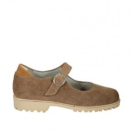 Zapato con cinturon para mujer en gamuza perforada marron con tacon 3 - Tallas disponibles:  33, 34, 42, 43, 44, 45