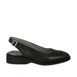 Chanelpump für Damen aus schwarzem Leder Absatz 3 - Verfügbare Größen:  33, 34, 42