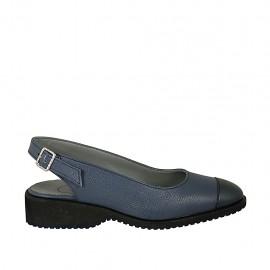 Chanelpump für Damen aus blauem Leder und Lackleder Absatz 3 - Verfügbare Größen:  34, 42