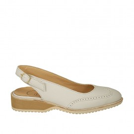Woman's slingback pump in beige leather heel 3 - Available sizes:  33, 34, 45