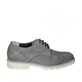 Men's casual laced shoe in grey nubuck leather - Available sizes:  37, 46, 47, 48, 49, 50