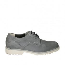 Zapato de sport con cordones para hombre en piel nubuk gris - Tallas disponibles:  46, 47, 49