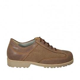 Zapato deportivo con cordones para hombre en piel y piel perforada marron - Tallas disponibles:  46, 47, 48, 49, 50