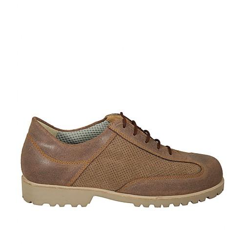 Chaussure sportif à lacets pour hommes en cuir et cuir perforé marron - Pointures disponibles:  46, 48, 49