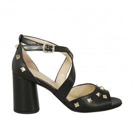 Woman's open shoe with crossed strap and studs in black leather heel 7 - Available sizes:  32, 33, 34, 42, 43