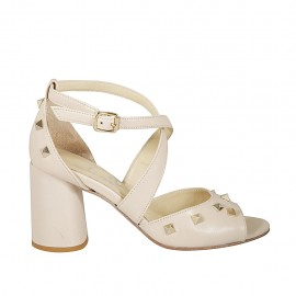 Woman's open shoe with crossed strap and studs in nude leather heel 7 - Available sizes:  32, 33, 34, 42, 43, 44, 45
