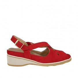 Sandalo da donna con elastici e plantare estraibile in camoscio rosso zeppa 4 - Misure disponibili: 33, 34, 43