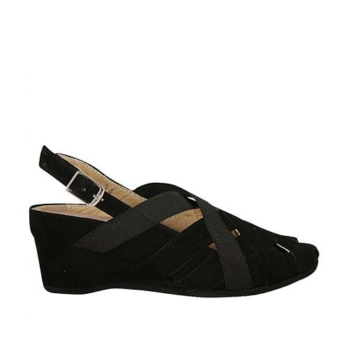 femmes pour noir avec Sandale 4 semelle talon daim amovible en et compensé elastiques Jc1uTlFK3