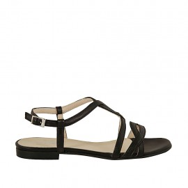 Woman's sandal in black leather heel 1 - Available sizes:  32, 33, 34, 43, 45