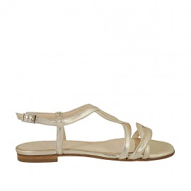 Woman's sandal in platinum laminated leather heel 1 - Available sizes:  32