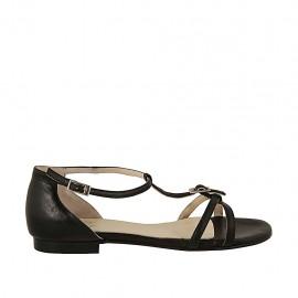 Zapato abierto para mujer con hebillas ajustables en piel negra tacon 1 - Tallas disponibles:  43, 45