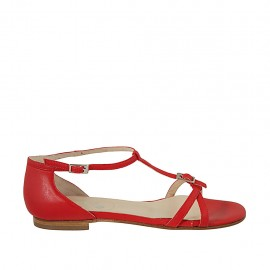 Woman's open shoe with adjustable buckles in red leather heel 1 - Available sizes:  33, 34, 43, 44, 45
