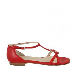 Zapato abierto para mujer con hebillas ajustables en piel roja tacon 1 - Tallas disponibles:  33, 43, 44, 45