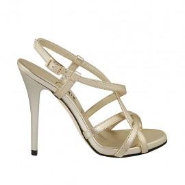 Sandalo da donna con plateau in pelle platino tacco 11 - Misure disponibili: 44