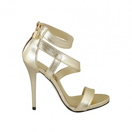 Woman's open platform pump with zipper in platinum laminated leather heel 11 - Available sizes:  33, 34, 43, 44, 45, 46