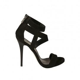 Chaussure ouverte avec plateforme et fermeture éclair en daim noir talon 11 - Pointures disponibles:  43
