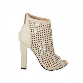 Zapato abierto en punta para mujer con plataforma y cremallera posterior en piel y piel perforada color nata tacon 11 - Tallas disponibles:  33, 34