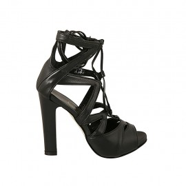Woman's open shoe with platform and laces in black leather heel 11 - Available sizes:  31, 33, 34, 42, 43, 44