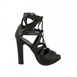 Zapato abierto para mujer con plataforma y cordones en piel negra tacon 11 - Tallas disponibles:  34, 42, 43