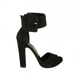 Scarpa aperta da donna con fibbia alla caviglia e plateau in camoscio nero tacco 11 - Misure disponibili: 33, 34, 43, 45, 46