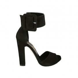 Zapato abierto para mujer con hebilla al tobillo y plataforma en gamuza negra tacon 11 - Tallas disponibles:  32, 33