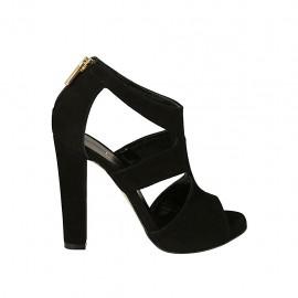 Zapato abierto para mujer con cremallera y platforma en gamuza negra tacon 11 - Tallas disponibles:  34, 45