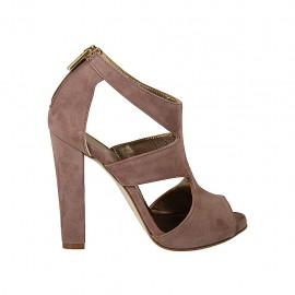Chaussure ouverte pour femmes avec fermeture eclair et plateau en daim gris glycine talon 11 - Pointures disponibles:  31, 44