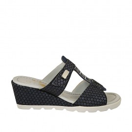 Woman's open mules with velcro strap and accessory in blue printed suede wedge heel 5 - Available sizes:  31, 34, 42, 43, 44, 45