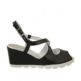 Sandalo da donna con cinturino incrociato in pelle nera zeppa 6 - Misure disponibili: 31, 42, 43, 44, 45