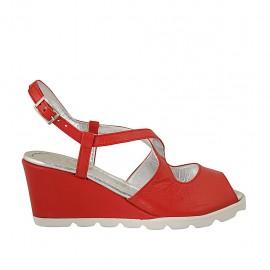 Sandalo da donna con cinturino incrociato in pelle rossa zeppa 6 - Misure disponibili: 42, 43, 44, 45