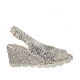 Woman's sandal in silver laminated printed suede wedge heel 6 - Available sizes:  42