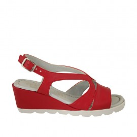 Woman's sandal in red leather wedge heel 5 - Available sizes:  31, 33, 34, 42, 43, 45
