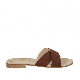 Woman's mules in brown nubuck leather heel 1 - Available sizes:  33, 34, 42, 43, 44, 45, 46, 47