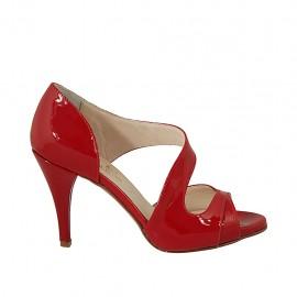 Zapato abierto para mujer en charol rojo tacon 9 - Tallas disponibles:  43, 45, 46