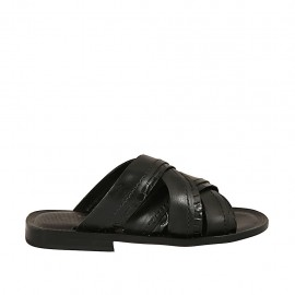 Men's slipper in black leather and printed leather - Available sizes:  36, 37, 38, 46, 47, 48, 49