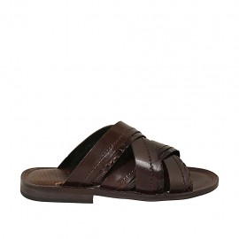 Men's slipper in dark brown leather and printed leather - Available sizes:  37, 38, 46, 47, 48, 49, 50