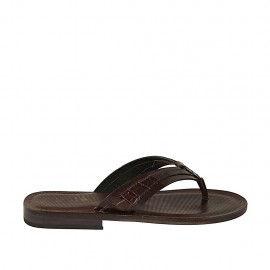 Men's flip-flop slipper in dark brown leather and printed leather - Available sizes:  37, 38, 46, 47, 48, 49, 50