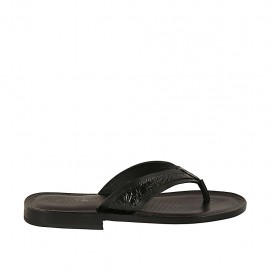 Men's flip-flop slipper in black leather and printed leather - Available sizes:  36, 37, 38, 46, 47, 48, 49, 50