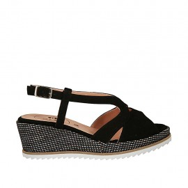 0158244b9b93 Woman s sandal in black suede and silver laminated fabric with platform and  wedge heel 6 -