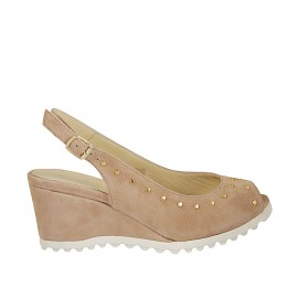 Woman's sandal with studs in beige suede wedge heel 5 - Available sizes:  34, 42