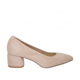 Woman's pointy pump in powder rose suede heel 5 - Available sizes:  32, 33, 34, 42, 43, 44, 45