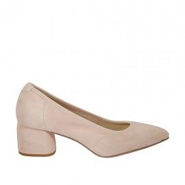 Zapato de salon a punta para mujer en gamuza rosa polvo tacon 5 - Tallas disponibles:  32, 43