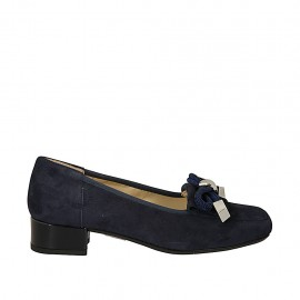 Woman's mocassin in blue suede with bow heel 3 - Available sizes:  45