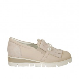 Woman's highfronted shoe with fringes, elastic and pearles in rose suede and leather wedge 3 - Available sizes:  34, 42, 44, 45